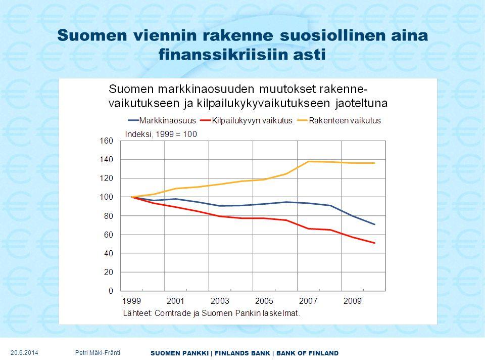 Suomen viennin rakenne suosiollinen aina finanssikriisiin asti