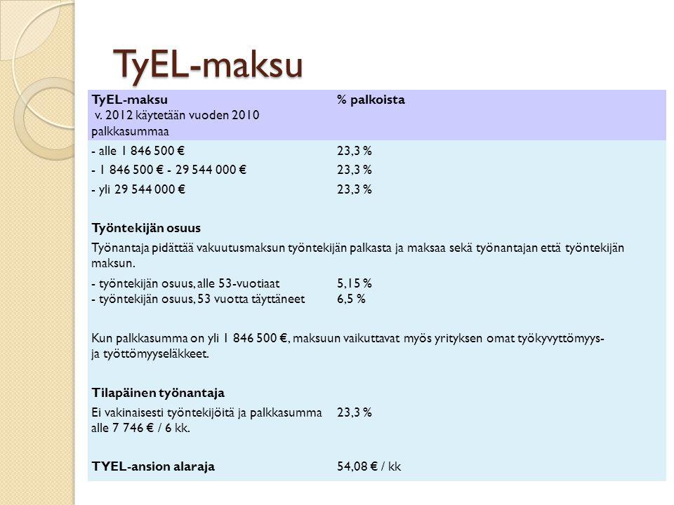 TyEL-maksu TyEL-maksu v. 2012 käytetään vuoden 2010 palkkasummaa