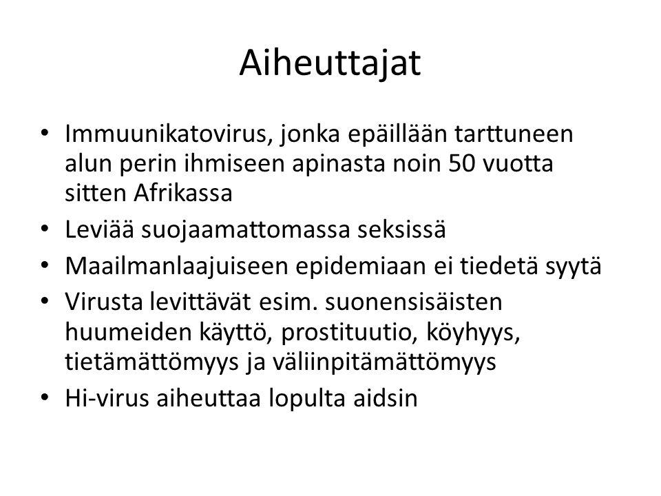 Aiheuttajat Immuunikatovirus, jonka epäillään tarttuneen alun perin ihmiseen apinasta noin 50 vuotta sitten Afrikassa.