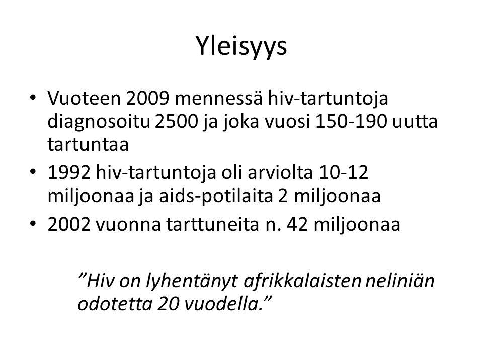 Yleisyys Vuoteen 2009 mennessä hiv-tartuntoja diagnosoitu 2500 ja joka vuosi 150-190 uutta tartuntaa.