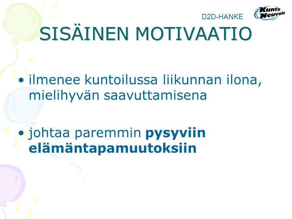 SISÄINEN MOTIVAATIO D2D-HANKE. ilmenee kuntoilussa liikunnan ilona, mielihyvän saavuttamisena.