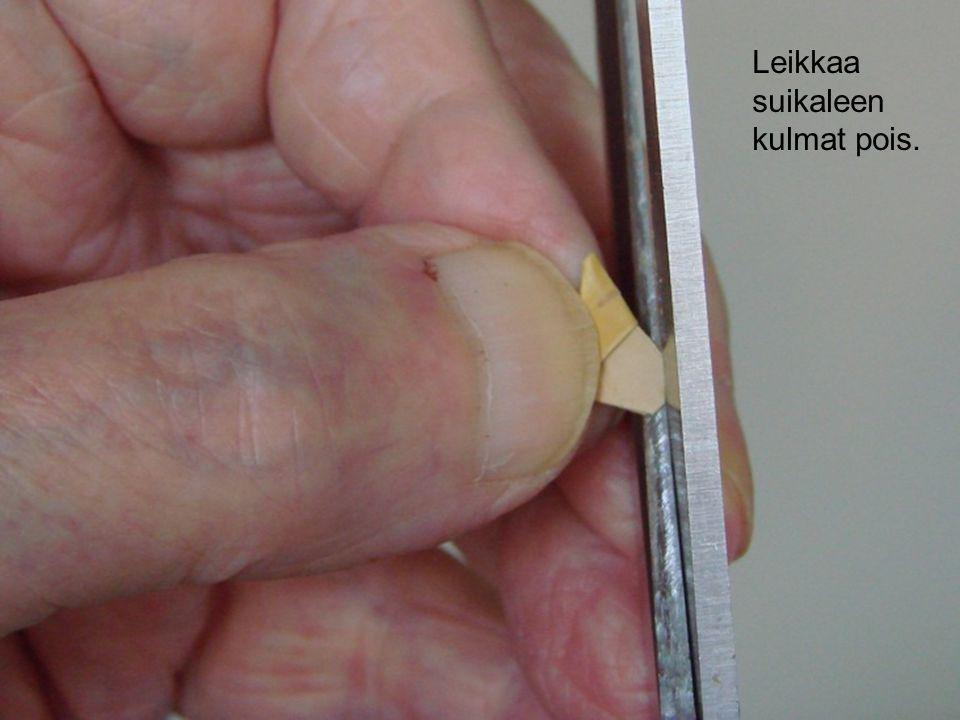 Leikkaa suikaleen kulmat pois.