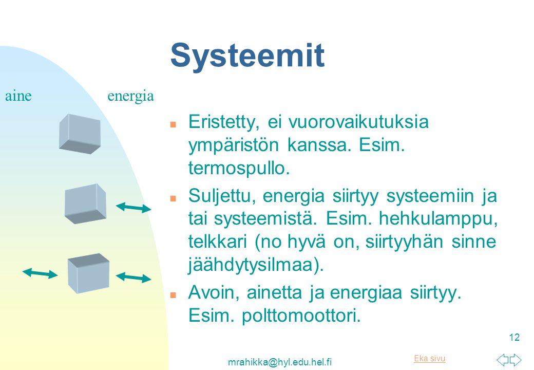 Systeemit aine. energia. Eristetty, ei vuorovaikutuksia ympäristön kanssa. Esim. termospullo.