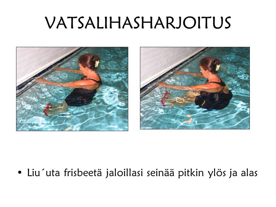 VATSALIHASHARJOITUS Liu´uta frisbeetä jaloillasi seinää pitkin ylös ja alas