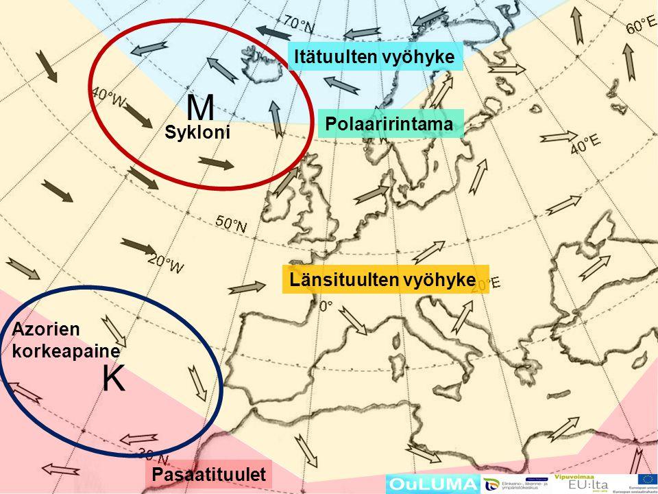M K Itätuulten vyöhyke Polaaririntama Sykloni Länsituulten vyöhyke