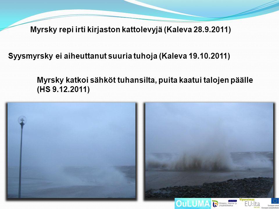 Myrsky repi irti kirjaston kattolevyjä (Kaleva 28.9.2011)