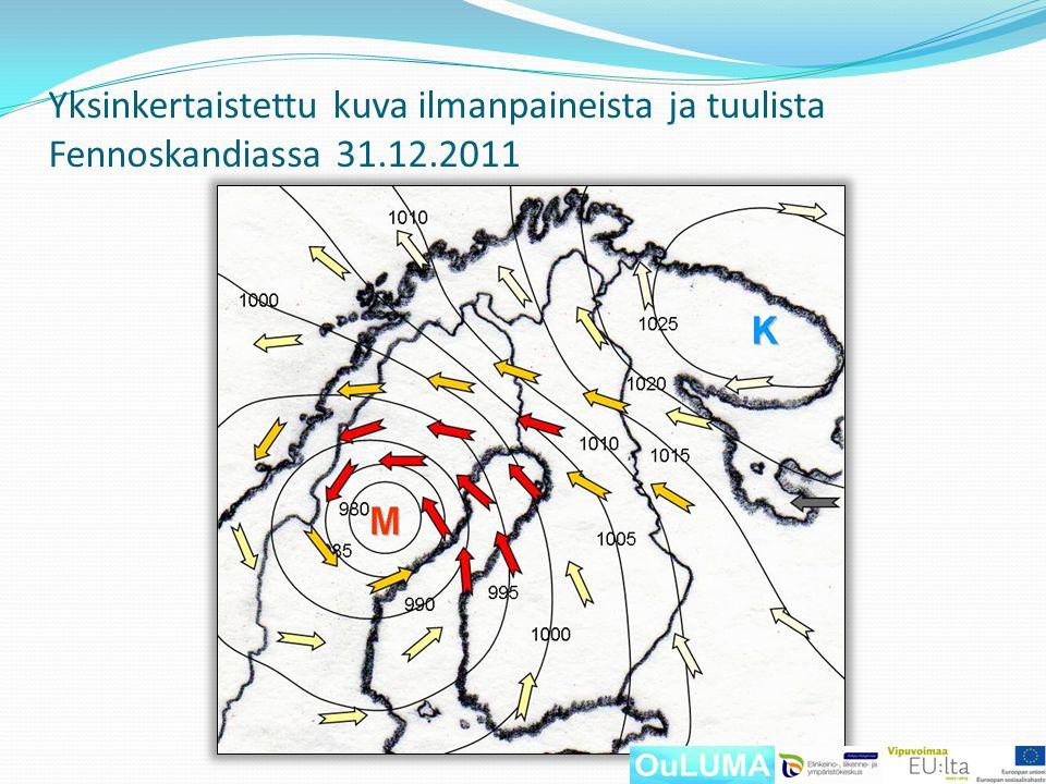 Yksinkertaistettu kuva ilmanpaineista ja tuulista Fennoskandiassa 31