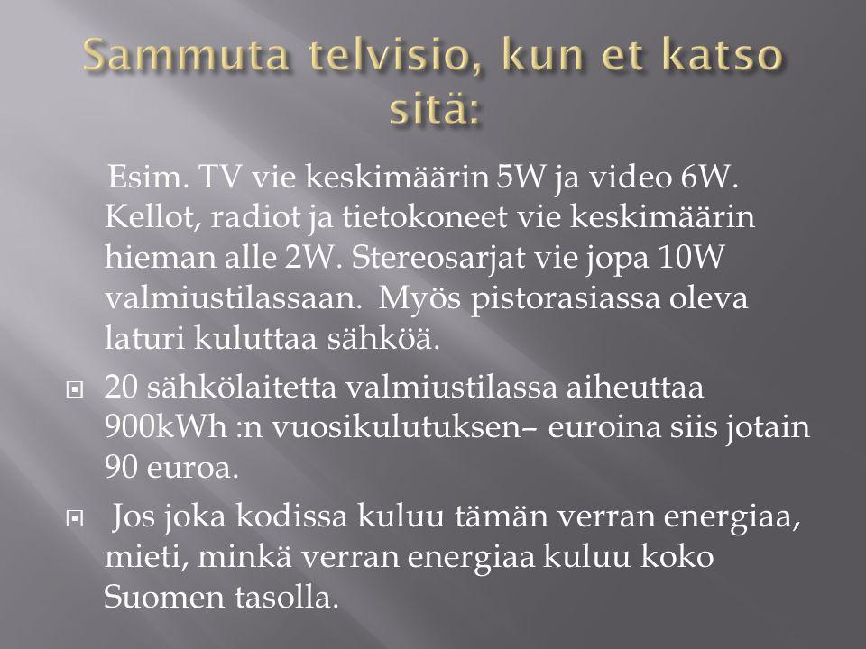 Sammuta telvisio, kun et katso sitä: