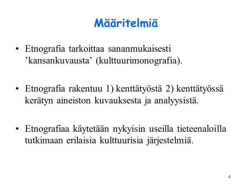 Määritelmiä Etnografia tarkoittaa sananmukaisesti 'kansankuvausta' (kulttuurimonografia).