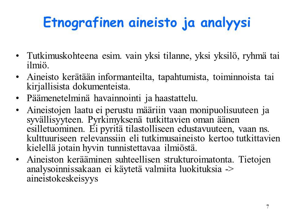 Etnografinen aineisto ja analyysi