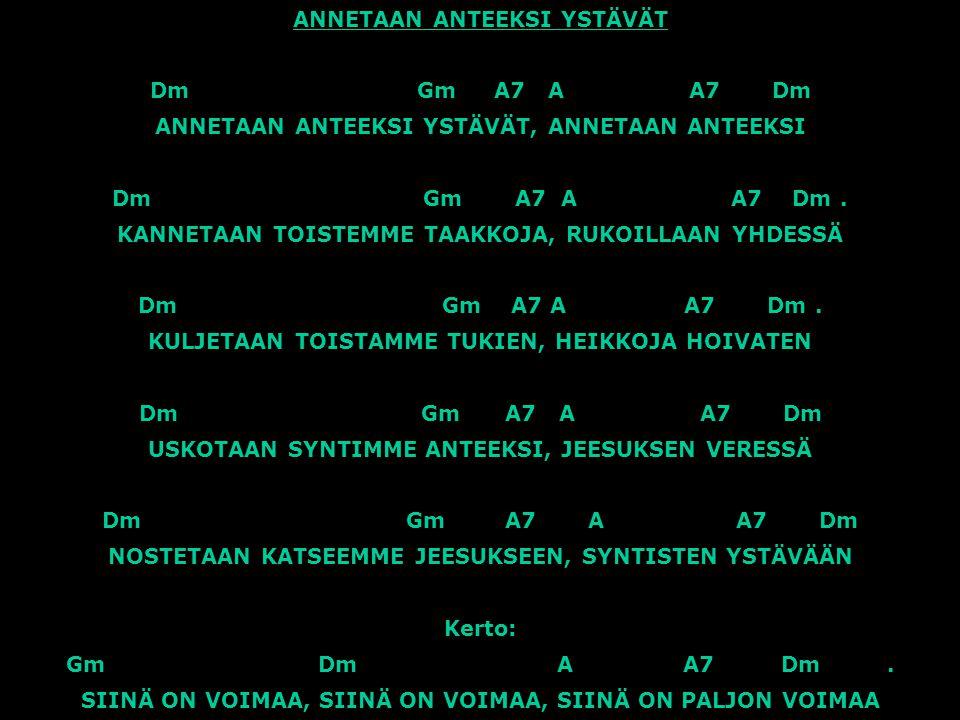 ANNETAAN ANTEEKSI YSTÄVÄT Dm Gm A7 A A7 Dm