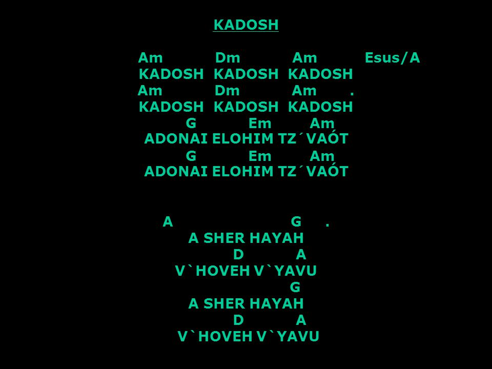 KADOSH Am Dm Am Esus/A KADOSH KADOSH KADOSH Am Dm Am