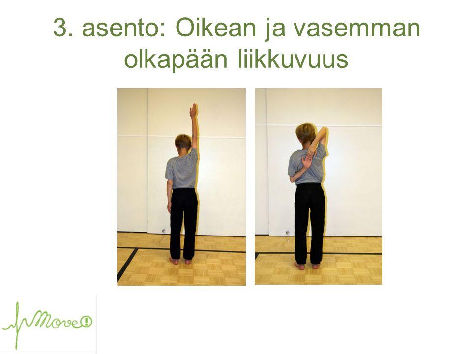 3. asento: Oikean ja vasemman olkapään liikkuvuus