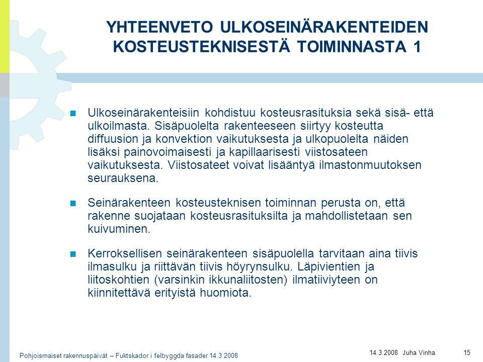 YHTEENVETO ULKOSEINÄRAKENTEIDEN KOSTEUSTEKNISESTÄ TOIMINNASTA 1