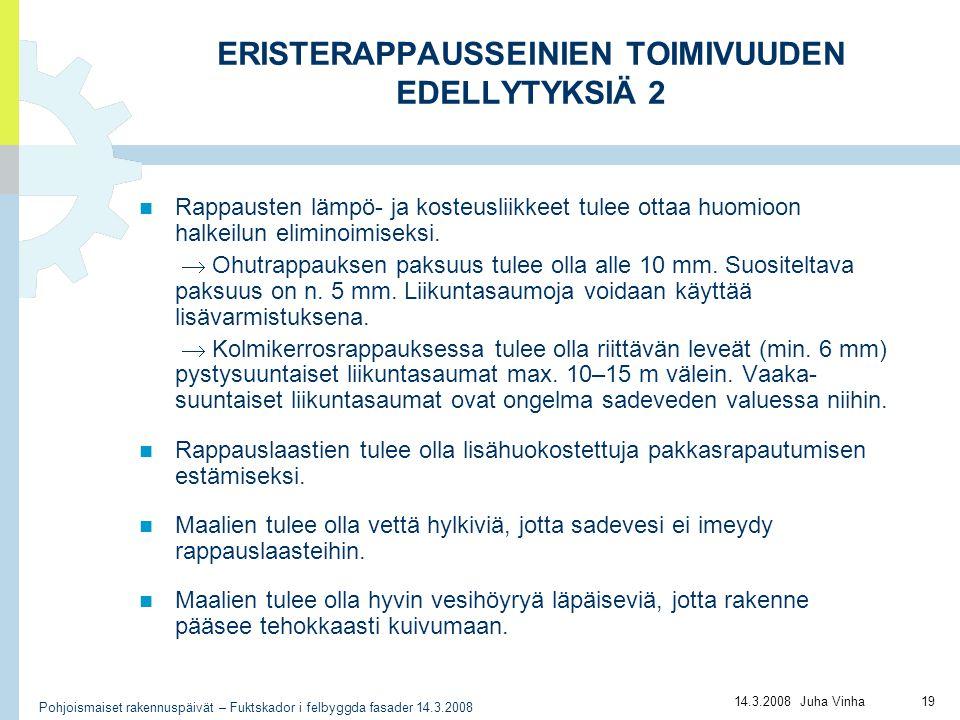ERISTERAPPAUSSEINIEN TOIMIVUUDEN EDELLYTYKSIÄ 2