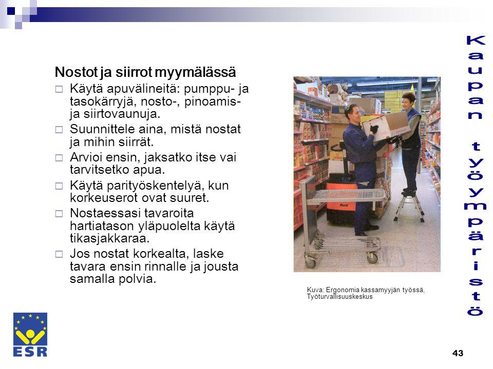 Kaupan työympäristö Nostot ja siirrot myymälässä