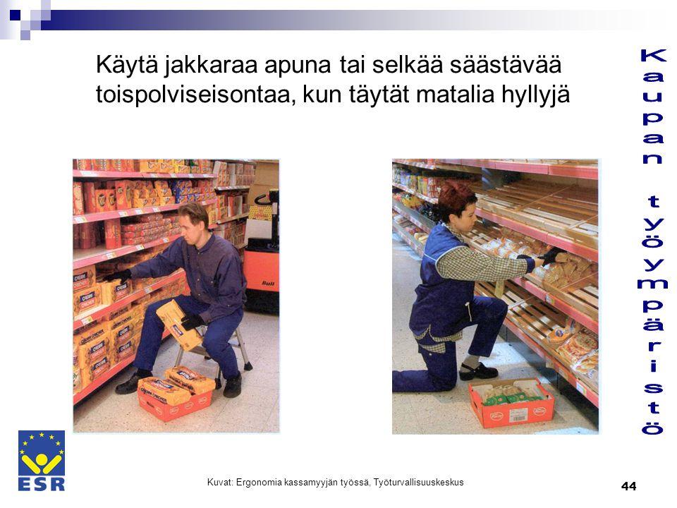 Kuvat: Ergonomia kassamyyjän työssä, Työturvallisuuskeskus