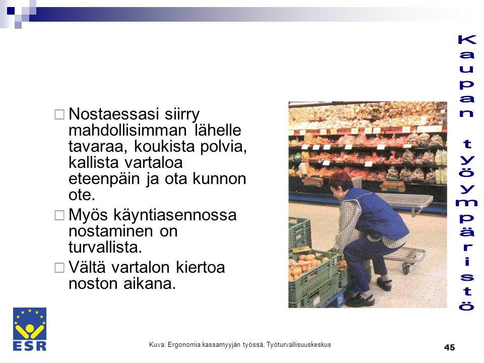 Kuva: Ergonomia kassamyyjän työssä, Työturvallisuuskeskus