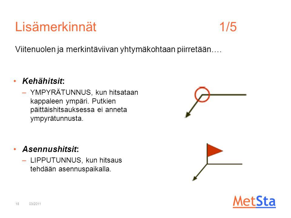 Lisämerkinnät 1/5 Viitenuolen ja merkintäviivan yhtymäkohtaan piirretään…. Kehähitsit:
