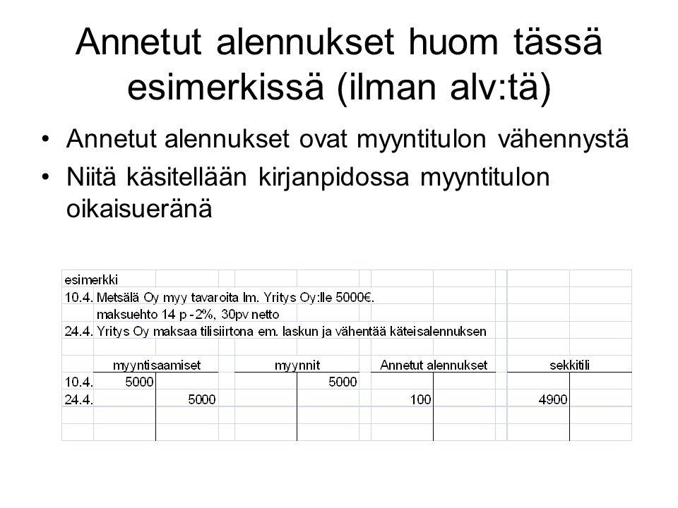Annetut alennukset huom tässä esimerkissä (ilman alv:tä)