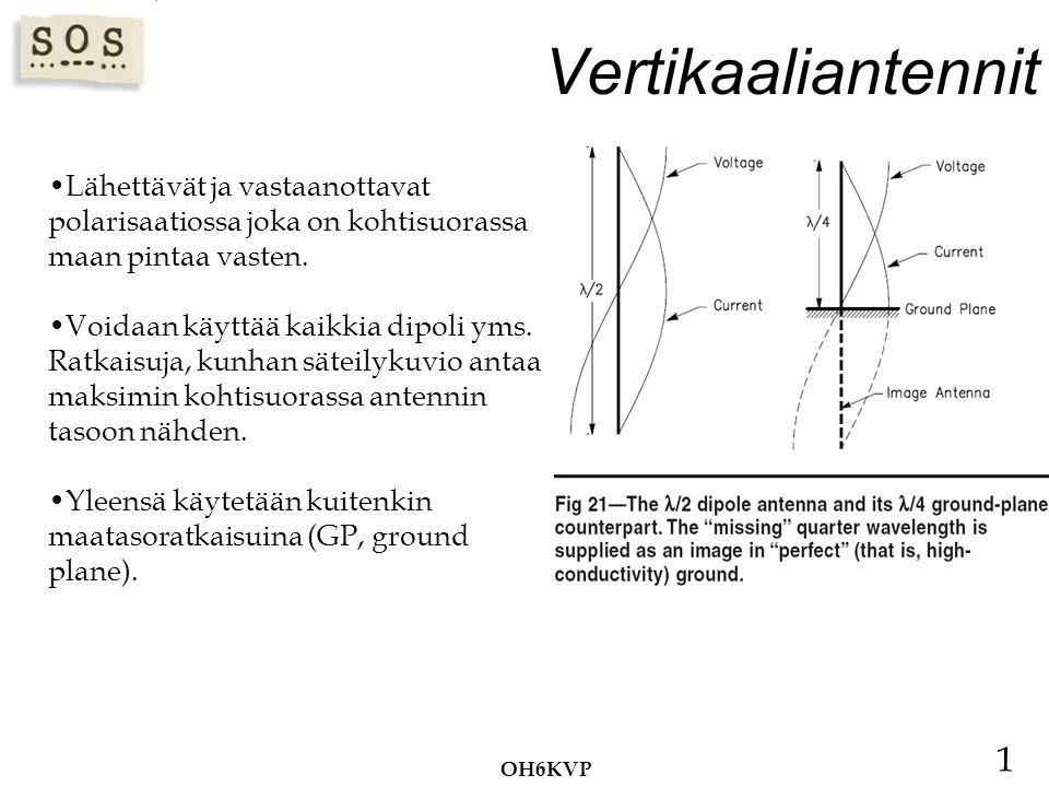 Vertikaaliantennit Lähettävät ja vastaanottavat polarisaatiossa joka on kohtisuorassa maan pintaa vasten.