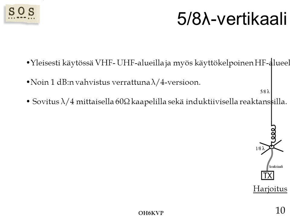 5/8λ-vertikaali Yleisesti käytössä VHF- UHF-alueilla ja myös käyttökelpoinen HF-alueella. Noin 1 dB:n vahvistus verrattuna λ/4-versioon.