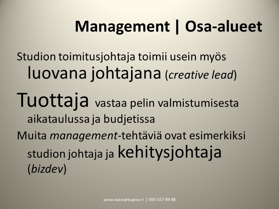 Management | Osa-alueet