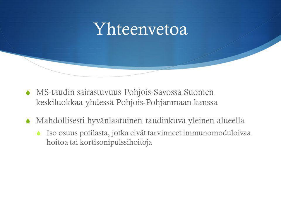 Yhteenvetoa MS-taudin sairastuvuus Pohjois-Savossa Suomen keskiluokkaa yhdessä Pohjois-Pohjanmaan kanssa.