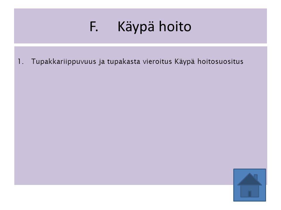 F. Käypä hoito 1. Tupakkariippuvuus ja tupakasta vieroitus Käypä hoitosuositus
