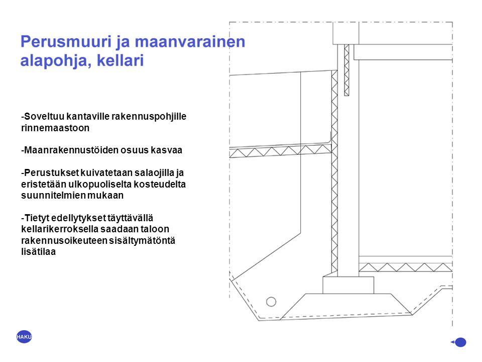 Soveltuu kantaville rakennuspohjille rinnemaastoon