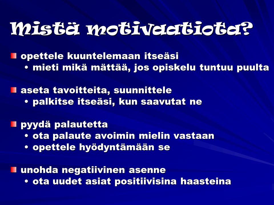 Mistä motivaatiota opettele kuuntelemaan itseäsi