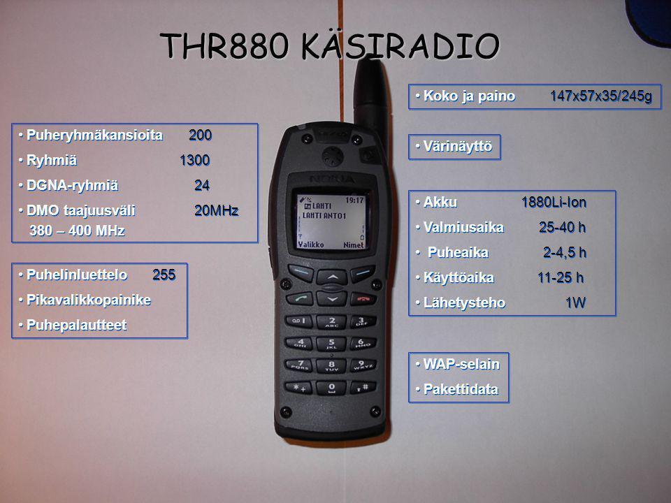 THR880 KÄSIRADIO Koko ja paino 147x57x35/245g Puheryhmäkansioita 200