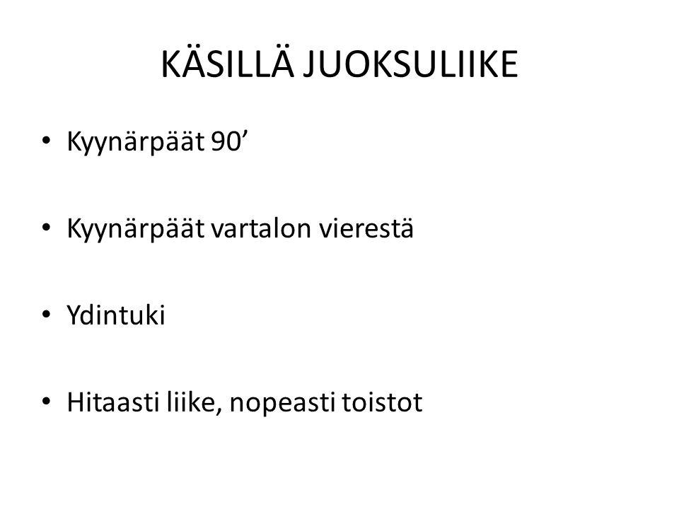 KÄSILLÄ JUOKSULIIKE Kyynärpäät 90' Kyynärpäät vartalon vierestä