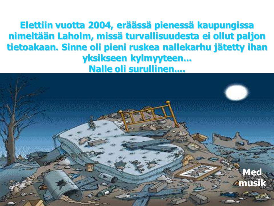 Elettiin vuotta 2004, eräässä pienessä kaupungissa nimeltään Laholm, missä turvallisuudesta ei ollut paljon tietoakaan. Sinne oli pieni ruskea nallekarhu jätetty ihan yksikseen kylmyyteen... Nalle oli surullinen....
