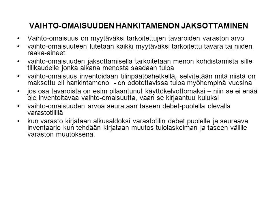 VAIHTO-OMAISUUDEN HANKITAMENON JAKSOTTAMINEN