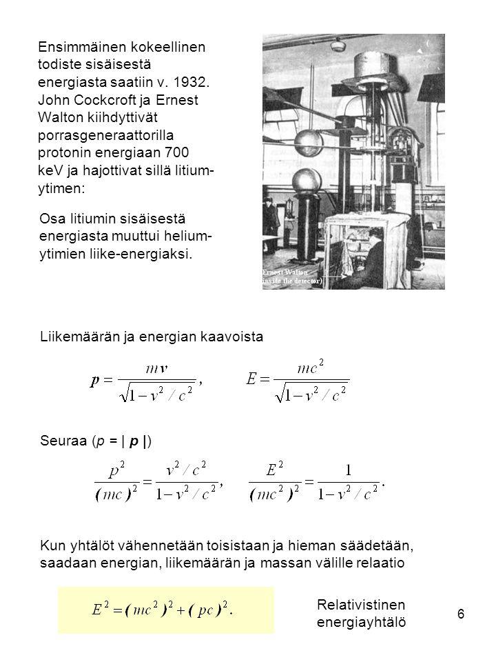 Ensimmäinen kokeellinen todiste sisäisestä energiasta saatiin v. 1932