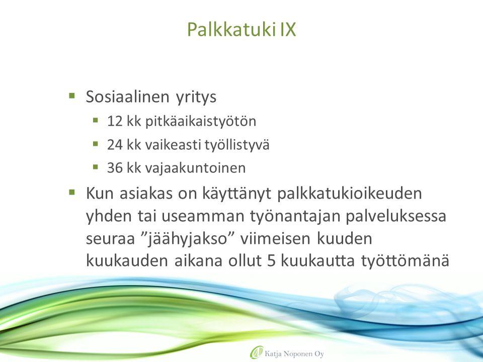 Palkkatuki IX Sosiaalinen yritys