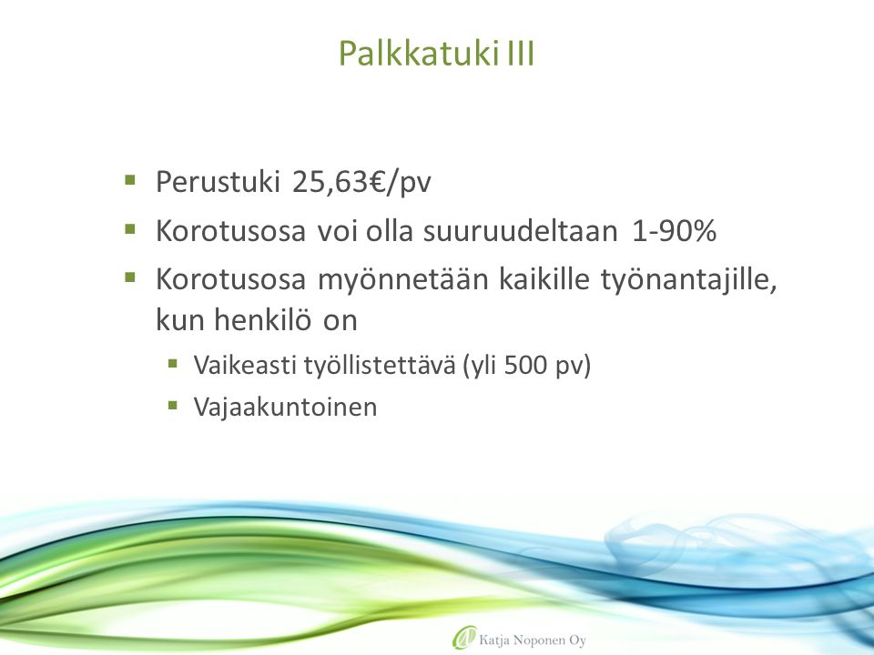Palkkatuki III Perustuki 25,63€/pv