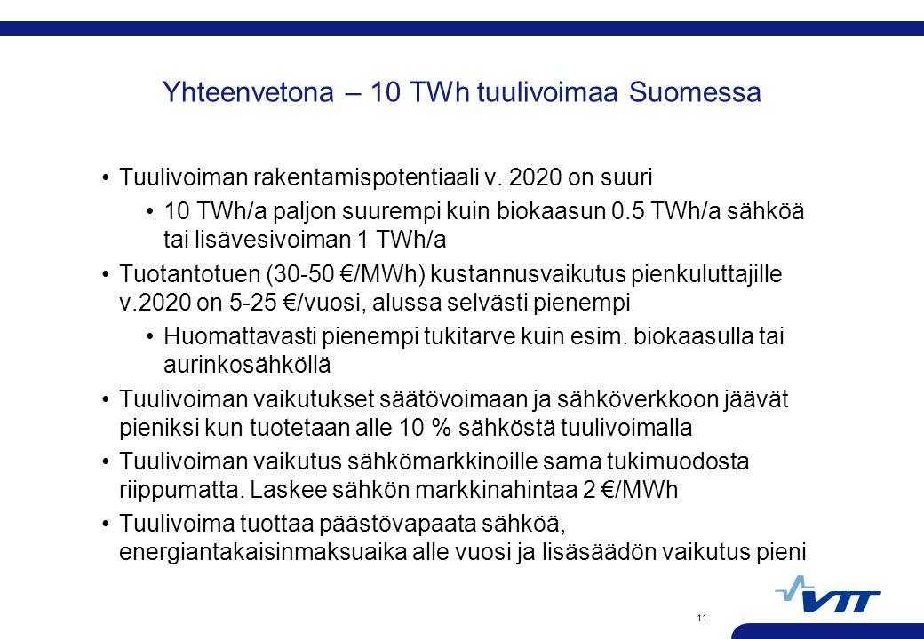 Yhteenvetona – 10 TWh tuulivoimaa Suomessa