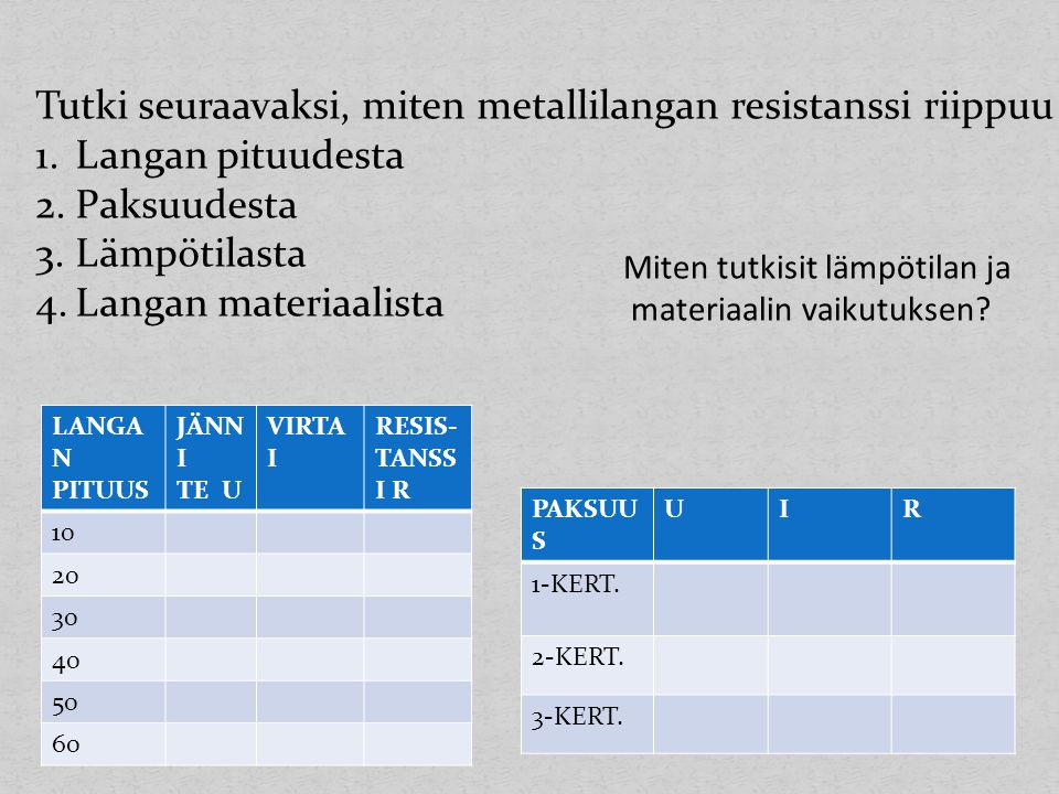 Tutki seuraavaksi, miten metallilangan resistanssi riippuu