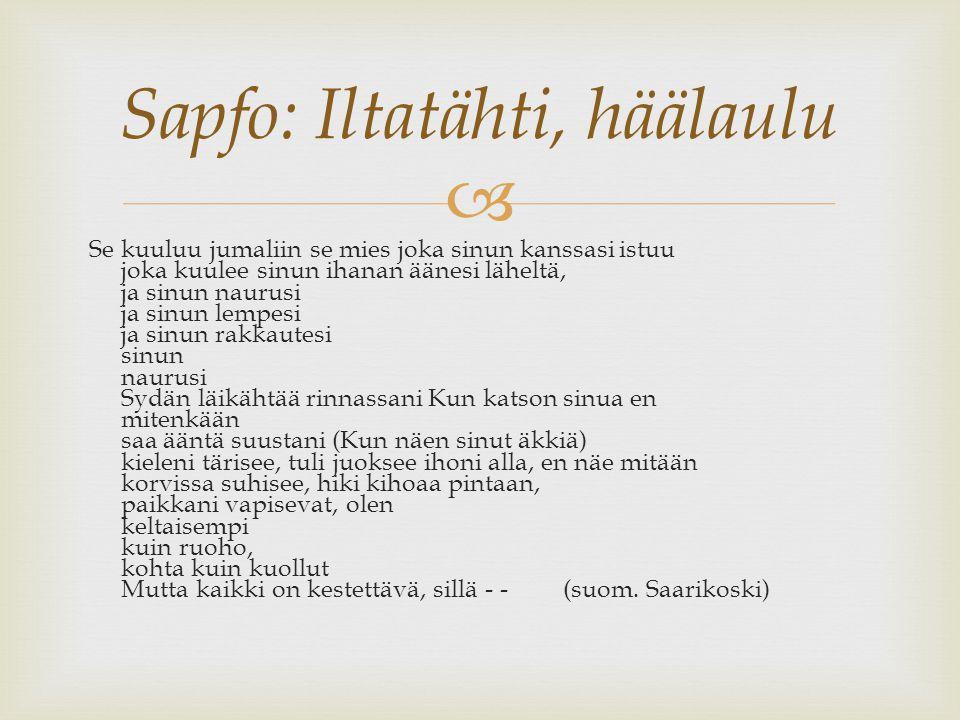 Sapfo: Iltatähti, häälaulu