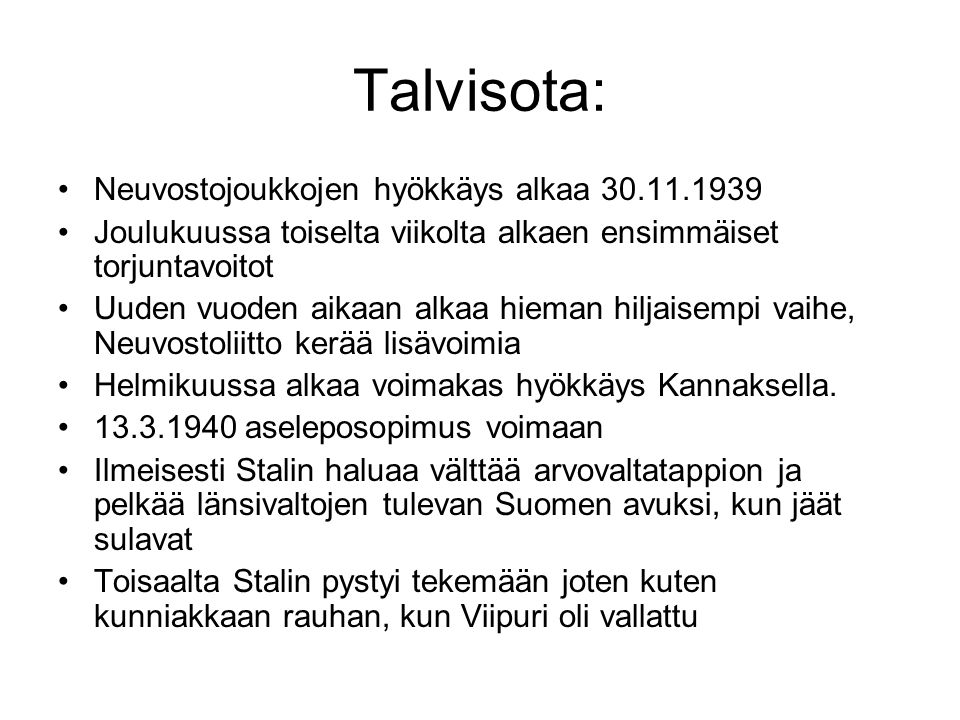Talvisota: Neuvostojoukkojen hyökkäys alkaa 30.11.1939