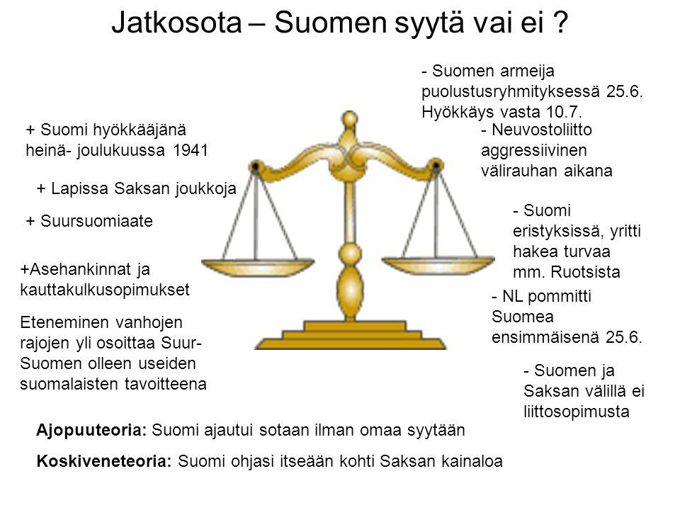 Jatkosota – Suomen syytä vai ei