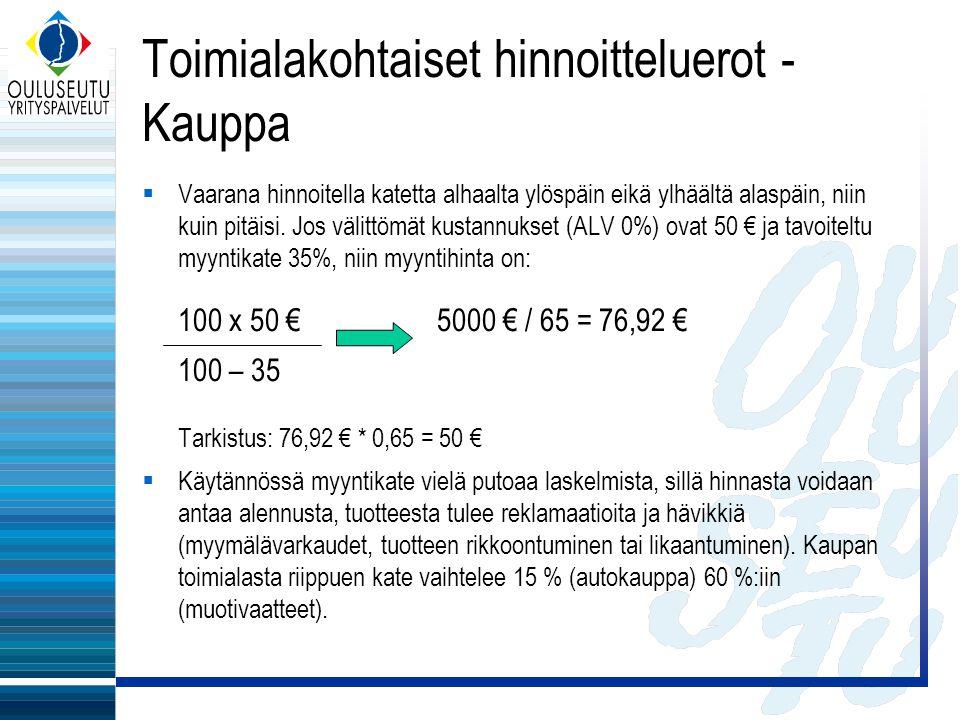 Toimialakohtaiset hinnoitteluerot - Kauppa