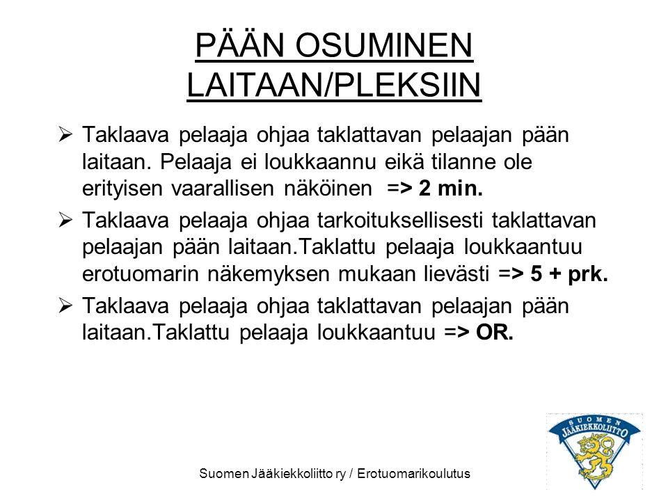 PÄÄN OSUMINEN LAITAAN/PLEKSIIN