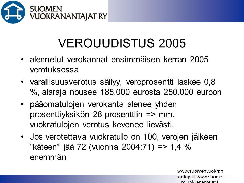 VEROUUDISTUS 2005 alennetut verokannat ensimmäisen kerran 2005 verotuksessa.
