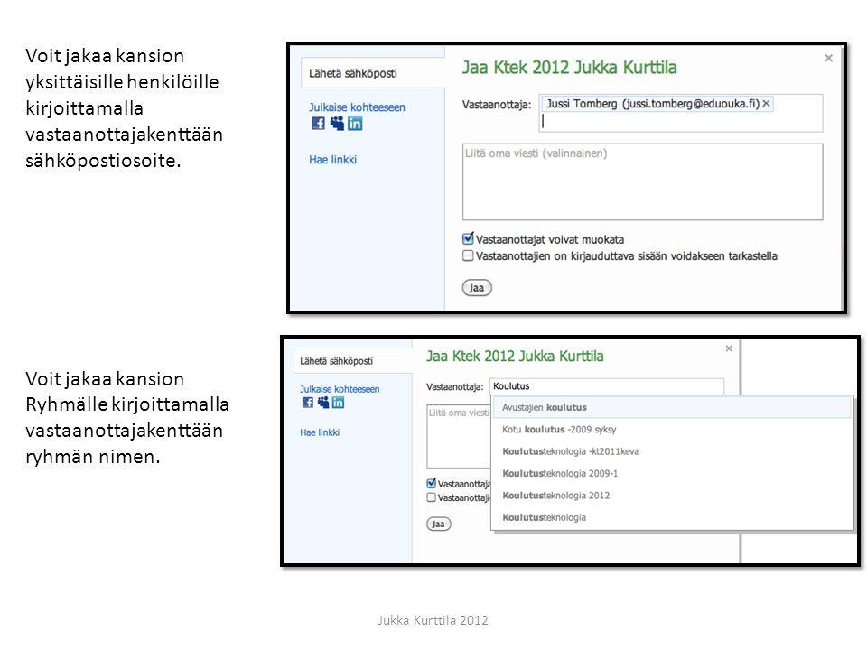 Voit jakaa kansion yksittäisille henkilöille kirjoittamalla vastaanottajakenttään sähköpostiosoite.