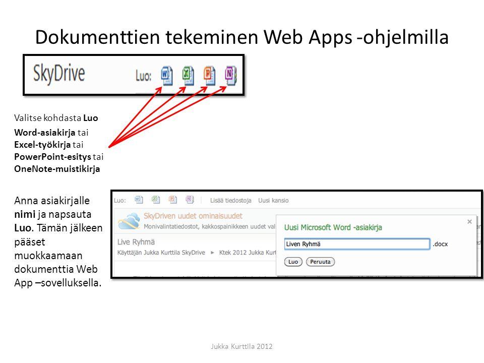 Dokumenttien tekeminen Web Apps -ohjelmilla