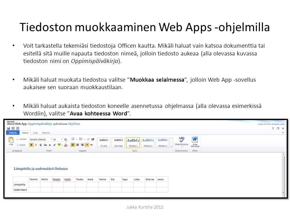 Tiedoston muokkaaminen Web Apps -ohjelmilla