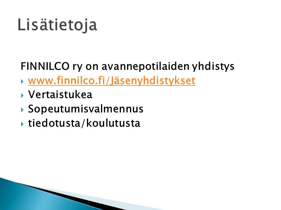 Lisätietoja FINNILCO ry on avannepotilaiden yhdistys